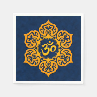 Blue and Yellow Lotus Flower Om Disposable Napkins