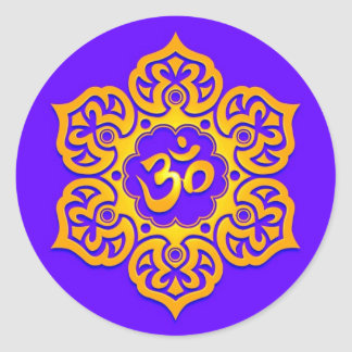 Blue and Yellow Lotus Flower Om Classic Round Sticker