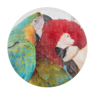 Blue-and-Yellow Macaw and Scarlett Macaw Cutting Board