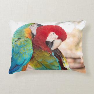 Blue-and-Yellow Macaw and Scarlett Macaw Accent Pillow