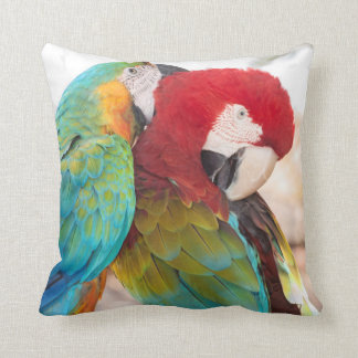 Blue-and-Yellow Macaw and Scarlett Macaw Pillow