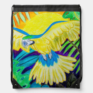 Blue and Yellow Macaw, Tropical Colored Pencil Drawstring Bag