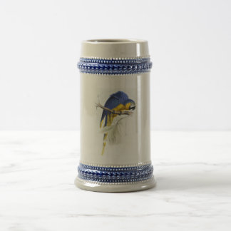 Blue and Yellow Maccaw by Edward Lear Beer Stein