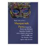 Blue and Yellow Masquerade Party Invitation