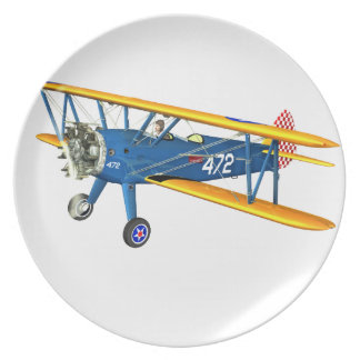 Blue and Yellow Military Flight Trainer Dinner Plate