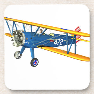 Blue and Yellow Military Flight Trainer Drink Coaster