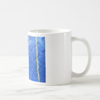 Blue and yellow modern style design. coffee mug