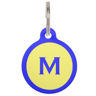 Blue and Yellow Monogrammed Dog Tag