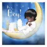 Blue and Yellow Moon Baby Shower Invites