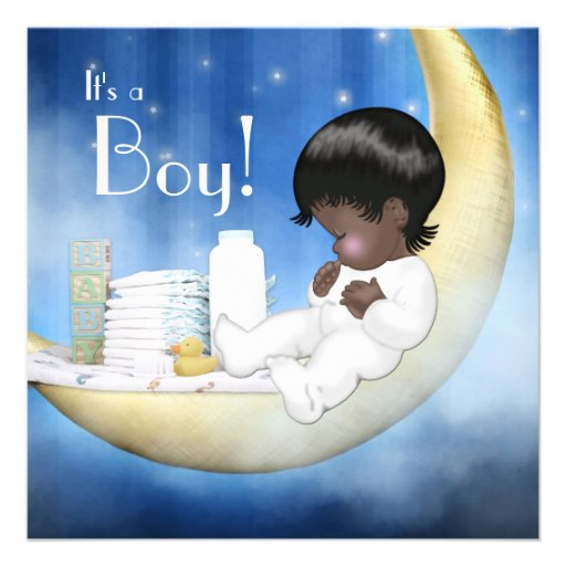 blue and yellow moon baby shower square invitation card zazzle
