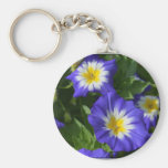 Blue and Yellow Morning Glories Basic Round Button Keychain