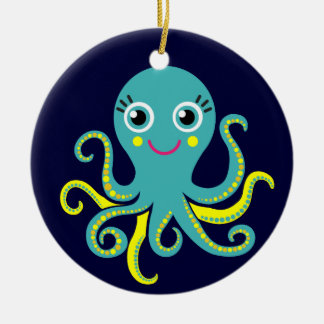 Blue and Yellow Octopus Christmas Tree Ornament