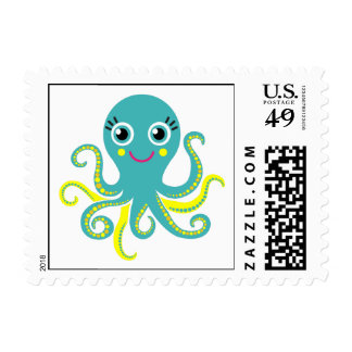 Blue and Yellow Octopus Stamps