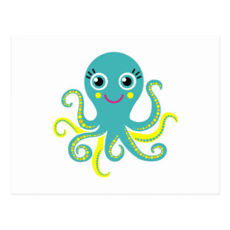 Blue and Yellow Octopus Postcard