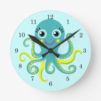 Blue and Yellow Octopus Round Clock