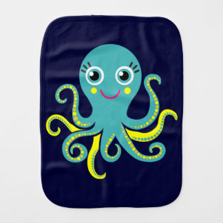 Blue and Yellow Octopus Baby Burp Cloths