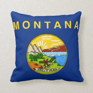 Blue and Yellow Official Flag of Montana Throw Pillow