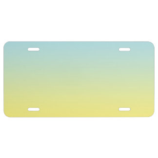 """""""Blue And Yellow Ombre"""" License Plate"""