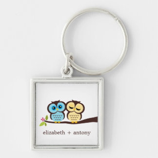 Blue and Yellow Owls Keychain