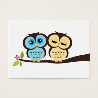 Blue and Yellow Owls Wedding Business Card