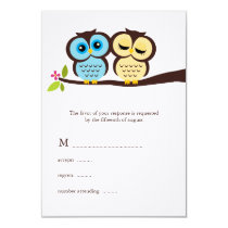 Blue and Yellow Owls Wedding Card