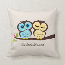 Blue and Yellow Owls Wedding Throw Pillow