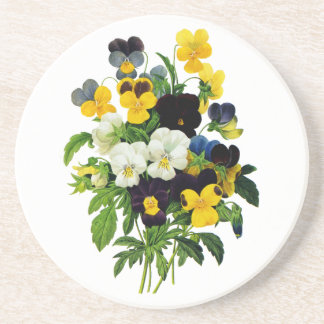 Blue and Yellow Pansies by Pierre Joseph Redoute Coaster