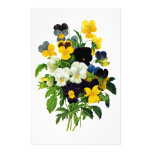 Blue and Yellow Pansies by Pierre Joseph Redoute Stationery Paper