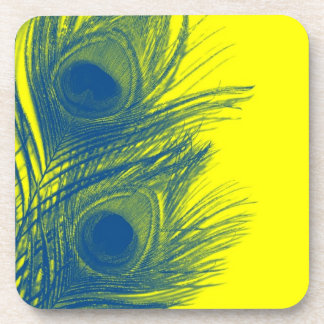 Blue and Yellow Peacock Feather Coasters