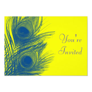 Blue and Yellow Peacock Feather Invitation