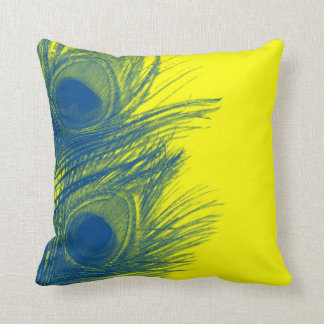 Blue and Yellow Peacock Feather Pillow