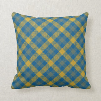 Blue and Yellow Plaid Design Throw Pillow