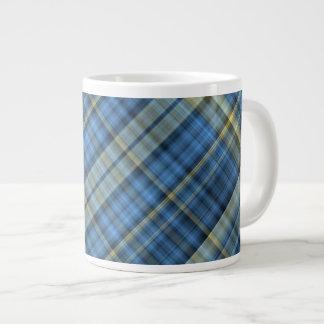 Blue and yellow plaid pattern 20 oz large ceramic coffee mug