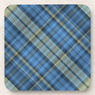Blue and yellow plaid pattern beverage coaster