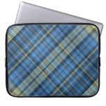 Blue and yellow plaid pattern laptop sleeve