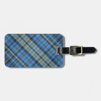 Blue and yellow plaid pattern luggage tags