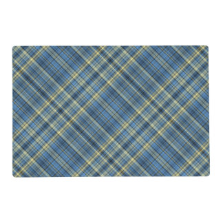 Blue and yellow plaid pattern placemat