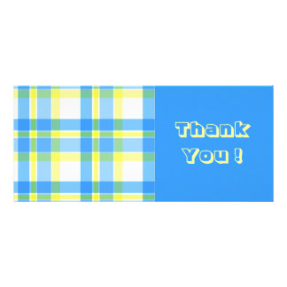 Blue and yellow plaid pattern rack card