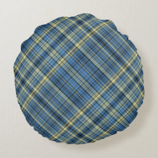 Blue and yellow plaid pattern round pillow