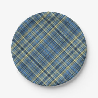 Blue and yellow plaid pattern 7 inch paper plate