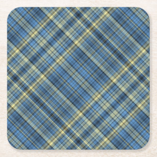 Blue and yellow plaid pattern square paper coaster