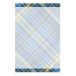Blue and yellow plaid pattern stationery design