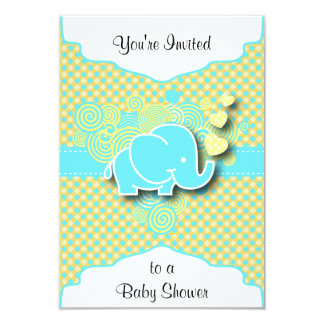 Blue and Yellow Plaid with Baby Elephant 3.5x5 Paper Invitation Card