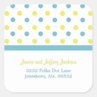 Blue and Yellow: Polka Dot Address Sticker