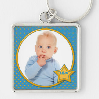 Blue and Yellow Polka Dot Photo Keychain