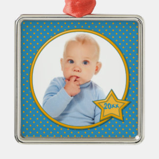 Blue and Yellow Polka Dot Photo Premium Ornament