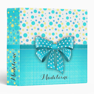 Blue and Yellow Polka Dots, Turquoise Blue Ribbon Binder