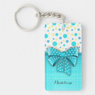 Blue and Yellow Polka Dots, Turquoise Blue Ribbon Keychain