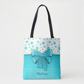Blue and Yellow Polka Dots, Turquoise Blue Ribbon Tote Bag