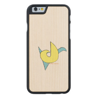 blue and yellow retro music note design carved maple iPhone 6 slim case